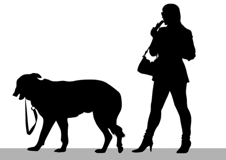 Vector drawing of a young woman and a dog Vector