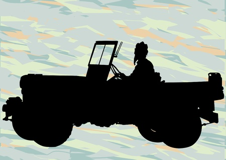 jeep: Vector drawing of an old military vehicle