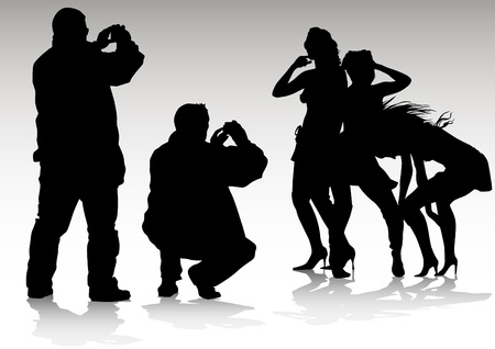 Vector image of people with cameras and model Vector