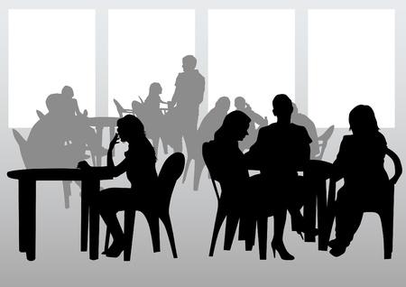 urban life: La gente de dibujo vectorial en los caf�s. Siluetas de personas en la vida urbana