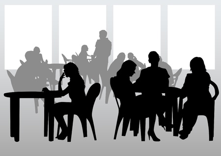 Vector drawing people in cafes. Silhouettes of people in urban life Stock Vector - 12864332