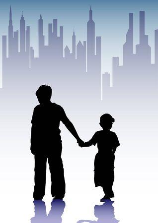 wees: Vector tekening silhouet van kinderen in de stad Stock Illustratie