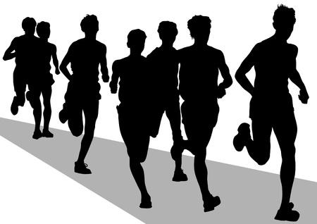 maraton: Vector concurso de dibujo en la carrera