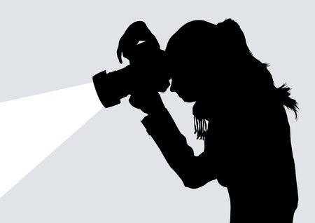 paparazzi: Vector image of photographers with equipment at work