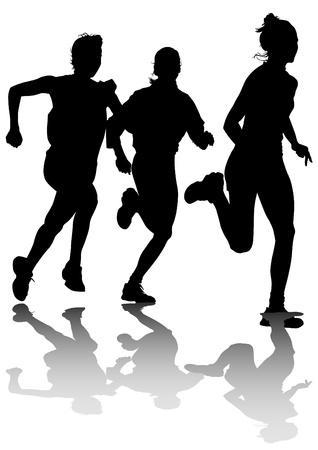 atleta corriendo: La competencia de dibujo vectorial ejecuta entre las mujeres Vectores