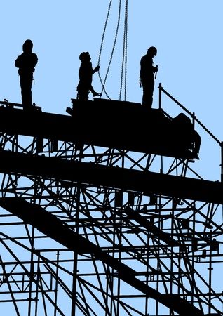 scaffold: Vector drawing of building structures and worker on dais