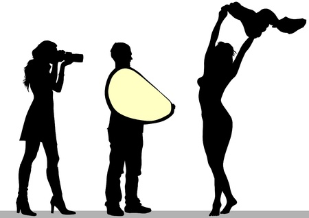 photo shooting: Vector image of people with cameras and model