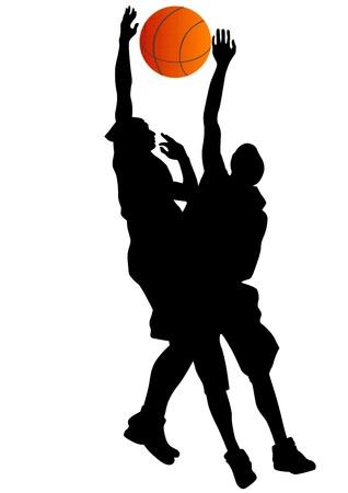 basketball net: Gr�fico vectorial de baloncesto. Silueta del hombre con la pelota