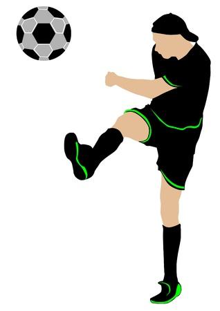 cartoon football player: Vector image of football players and ball