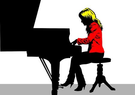 tocando piano: Dibujo vectorial de un piano de mujer tocando en el escenario