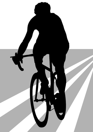 road cycling: Vector drawing silhouette of a cyclist boy. Silhouette of people