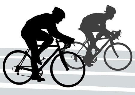 Vector drawing silhouette of a cyclist boy. Silhouette of people Vector