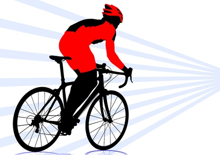 cycling silhouette: Vector drawing silhouette of a cyclist boy