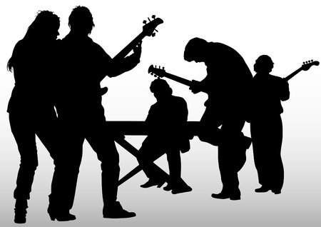 Vector image of musical rock group Vector