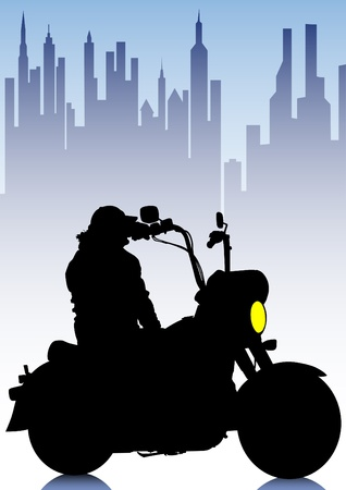 Vector drawing a tourist motorcycle in city Vector