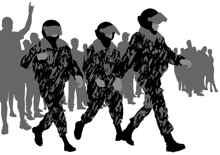 Vector image of police in form of protective Stock Vector - 12864203