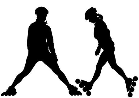 Vector drawing girl athlete on skates Illustration