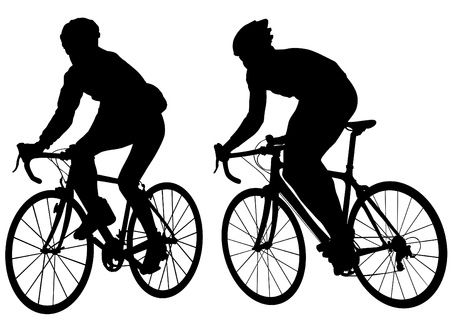 Vector tekening silhouet van een fietser jongen. Silhouet van de mensen