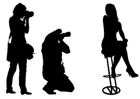 paparazzi: Vector image of young photographers with equipment at work