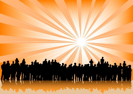 spectators: Vector drawing silhouette crowds and sun