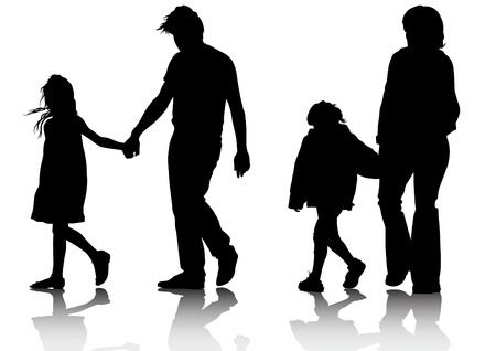 people walking: Vector drawing parents and childs Illustration