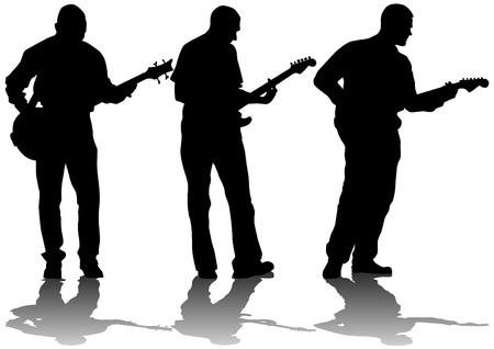 m�sico: Vector hombre joven dibujo y el guitarrista