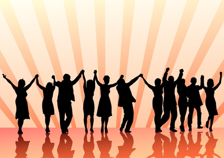 Vector image of young people. Dancing in nightclub Vector