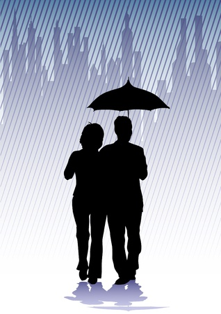 couple in rain: Vector drawing groups of people with umbrellas Illustration