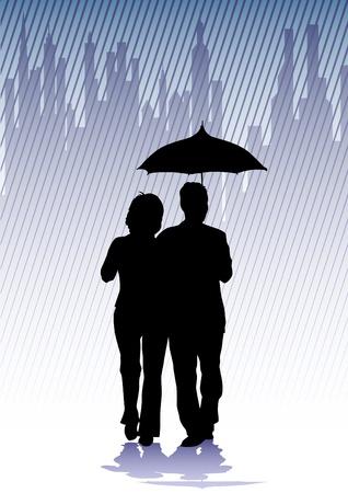 Men and women in the rain: Vector vẽ nhóm người với ô