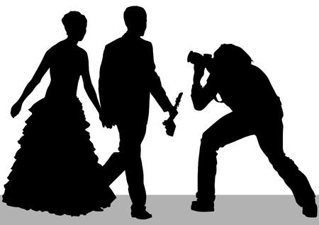 heterosexual: Dibujo vectorial de los fot�grafos en una boda