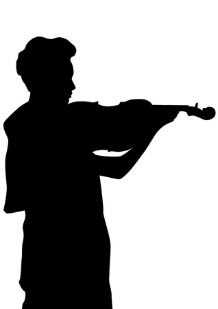 Vector drawing of a woman with a violin on stage Vector