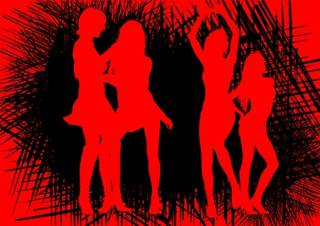 prostitute: Vector drawing slim and beautiful girls Illustration