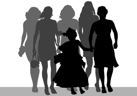Vector drawing of mothers with children. Silhouettes on white background Vector