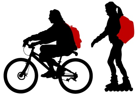 bicycle silhouette: Vector drawing silhouette of cyclist and roller Illustration