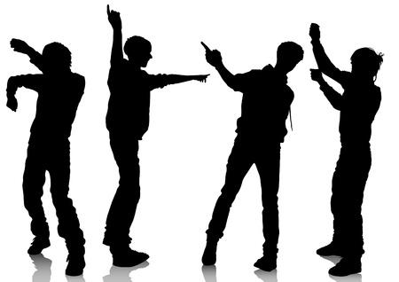Vector drawing disco dancers boy Stock Vector - 12963000