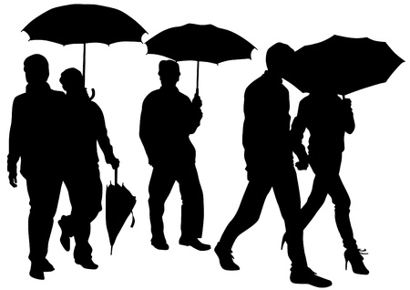 Groups of people with umbrellas Vector