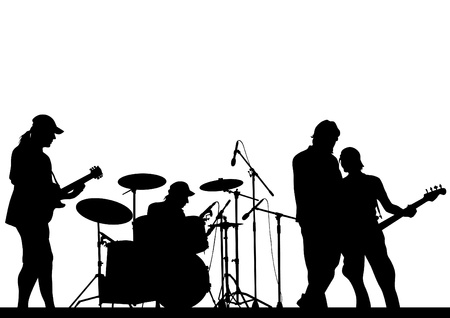 musician silhouette: Image of musical group and audience