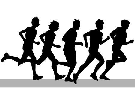 group of young adults: Competition on run Illustration