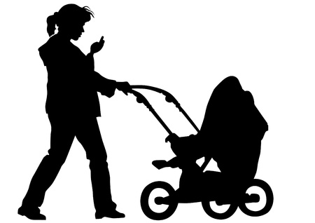 Mother with children. Silhouettes on a white background Vector