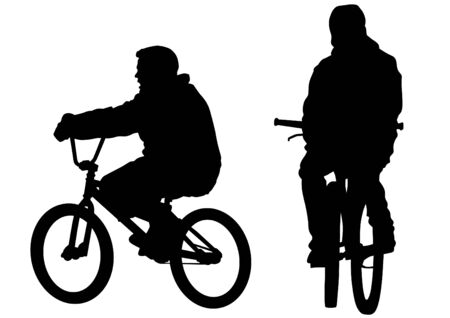 Silhouette of a cyclist boy. Silhouette of people