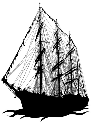 Vector drawing of a sailing ship on the water Vector
