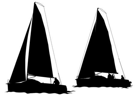 deportes nauticos: Dibujo vectorial de un velero en el agua