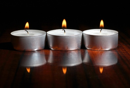 candles on a wooden table Stock Photo - 13196766