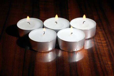 candles on a wooden table Stock Photo - 13196797