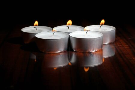 candles on a wooden table Stock Photo - 13196734
