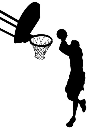 graphic basketball. Silhouette man with ball Stock Vector - 13196817