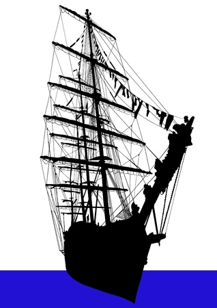 a sailing ship on the water Vector