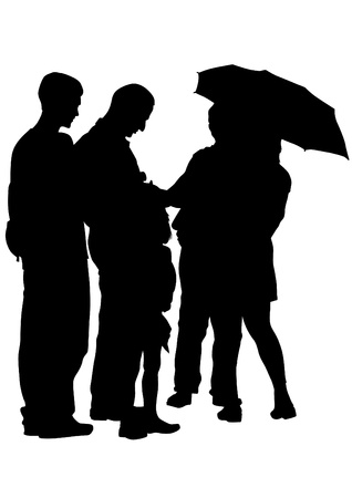 drawing groups of people with umbrellas Vector