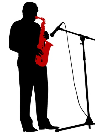 drawing of a man with saxophone on stage Vector