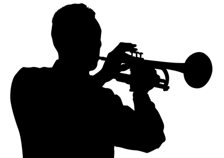 musician silhouette: drawing of a man with trumpet on stage